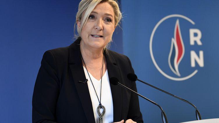 Marine Le Pen, la présidente du Rassemblement national, lors de ses vœux à la presse le 16 janvier 2020 (photo d'illustration) (BERTRAND GUAY / AFP)