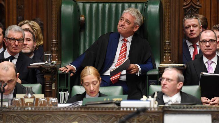"""Le """"Speaker"""" de la Chambre des communes britannique John Bercow, le 30 octobre 2019, à Londres. (JESSICA TAYLOR / AFP)"""