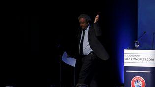 Michel Platini au congrès de l'UEFA, le 14 septembre 2016, à Athènes (Grèce). (ALKIS KONSTANTINIDIS / REUTERS)