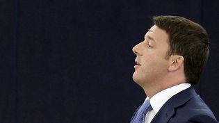 Le Premier ministre italien Matteo Renzi délivre un discours devant le Parlement européen à Strasbourg (Bas-Rhin), le 2 juillet 2014. (FREDERICK FLORIN / AFP)