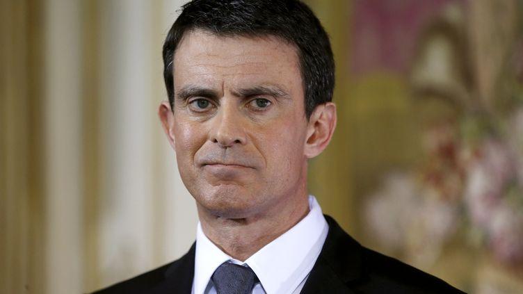 Manuel Valls le 8 février2016 lors d'uen conférence de presse (PATRICK KOVARIK / AFP)