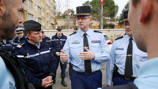 Le général Richard Lizurey à la gendarmerie de Carcassonne, le 25 mars 218. (MAXPPP)