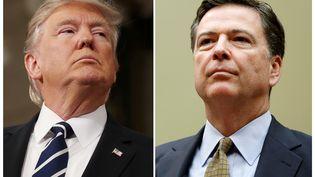 Donald Trump et l'ancien patron du FBI James Comey, limogé le 9 mai 2017. (GARY CAMERON / REUTERS)