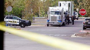 Le camion a été retrouvé sur le parking d'un supermarché de San Antonio (Texas), le 23 juillet 2017. (RAY WHITEHOUSE / REUTERS)