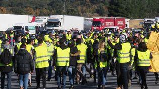 """Des """"gilets jaunes"""" le 22 décembre 2018au Boulou (Pyrénées-Orientales). (RAYMOND ROIG / AFP)"""