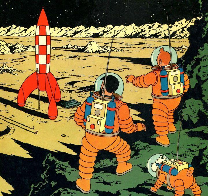 """Détail de la couverture de l'album """"On a marché sur la Lune"""", par Hergé, aux éditions Casterman. (HERGE / MOULINSART / CASTERMAN)"""