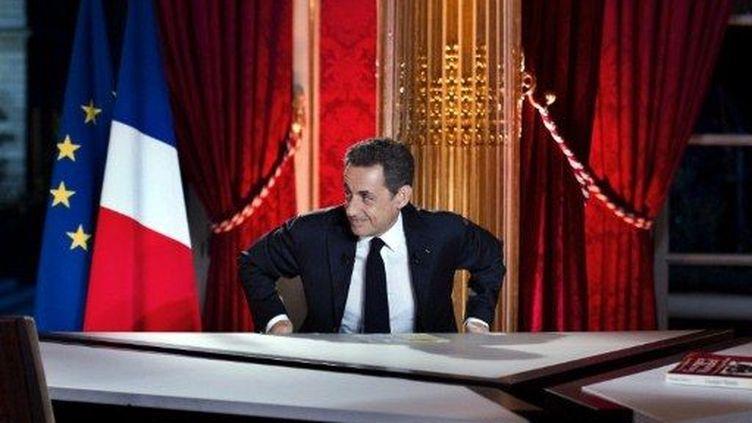Nicolas Sarkozy juste avant son intervention télévisée (29 janvier 2012) (LIONEL BONAVENTURE / POOL / AFP)