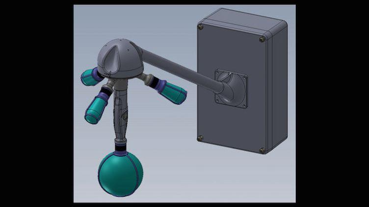 Schéma de principe du capteur méduse (version 2019), avec ses quatre microphones positionnés selon un tétraèdre régulier et ses capteurs optiques au centre. (Crédits Photo : © Bruitparif)
