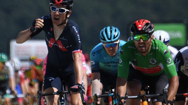 Thomas a résisté au retour de Colbrelli pour remporter cette 5e étape jeudi 3 juin (ALAIN JOCARD / AFP)