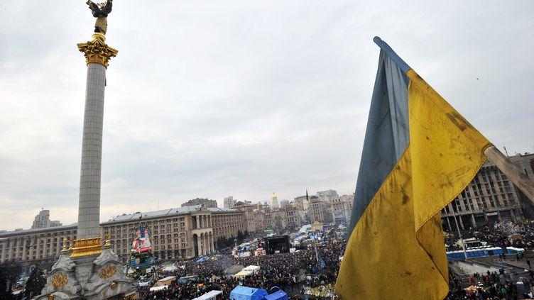 La place Maïdan, épicentre de la contestation, à Kiev (Ukraine), le 23 février 2014. (GENYA SAVILOV / AFP)
