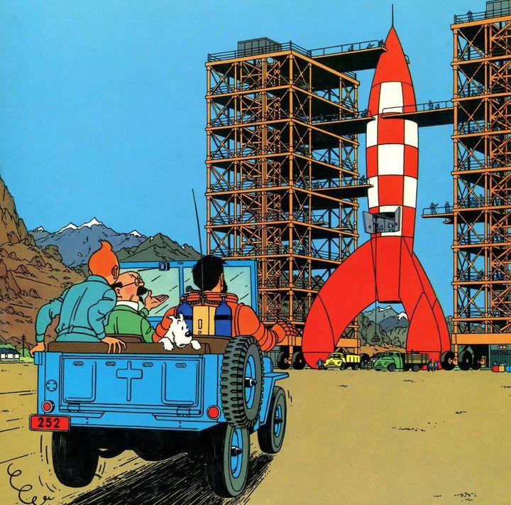 """Détail de la couverture de l'album """"Objectif Lune"""" par Hergé aux éditions Casterman. (HERGE / MOULINSART / CASTERMAN)"""