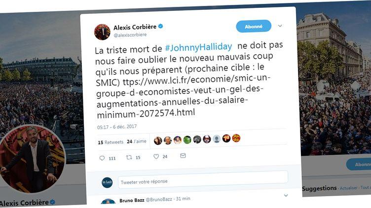 Capture d'écran du tweet polémique d'Alexis Corbière, le 6 décembre 2017. (TWITTER.COM)