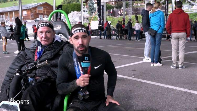 Daniel Guzman et son père José-Luis ont participé à une Spartan Race à Verbier (Suisse) sur le compte Twitter de @lemanbleutv (CAPTURE D'ÉCRAN)