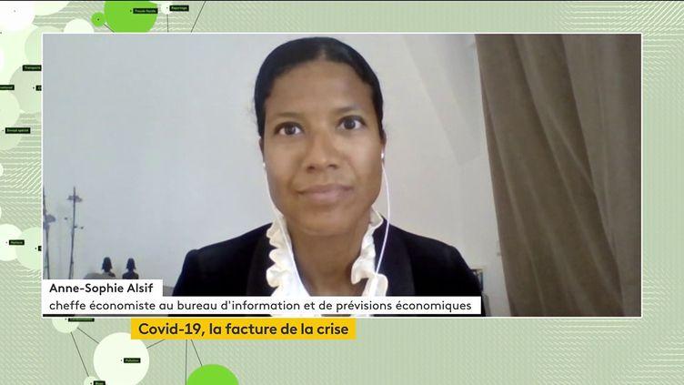 Anne-Sophie Alsif,cheffe économiste au Bureau d'Information et de prévisions économiques, au journal téléviséde franceinfo canal 27, le 12 mai 2021. (FRANCEINFO)