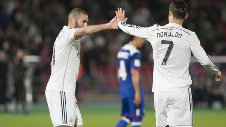 Karim Benzema et Cristiano Ronaldo (Real Madrid) (JALAL MORCHIDI / ANADOLU AGENCY)