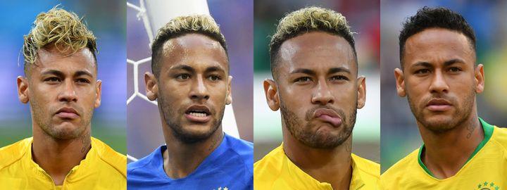 L'évolution capillaire de Neymar entre le premier match du Brésil contre la Suisse, le 17 juin 2018 (à gauche), et le dernier en date contre le Mexique, le 2 juillet 2018 (à droite). (JOE KLAMAR / GABRIEL BOUYS / YURI CORTEZ / EMMANUEL DUNAND / AFP)