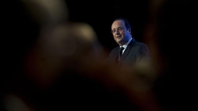 François Hollande s'adresse à la communauté française de San Francisco (Etats-Unis), le 12 février 2014. (ALAIN JOCARD / AFP)