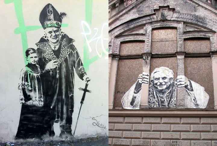 Deux oeuvres de street art représentant le pape Benoît XVI dans une situation peu flatteuse. (DR)