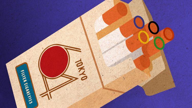 """Un paquet de cigarettes estampillé """"Tokyo 1964"""" comme on en trouvait lors des JO cette année-là. (JESSICA KOMGUEN / FRANCEINFO)"""