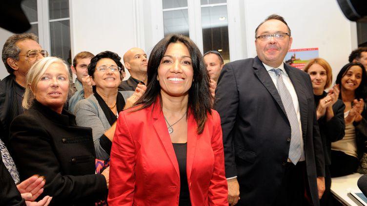 Samia Ghali et Patrick Menucci, candidats au second tour de la primaire PS à Marseille (Bouches-du-Rhône), le 13 octobre 2013. (  MAXPPP)