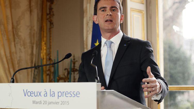 Le Premier ministre, Manuel Valls, délivre ses vœux à la presse, à Paris, le 20 janvier 2015. (PATRICK KOVARIK / AFP)