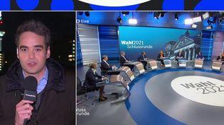 En Allemagne, les candidats ont débattu une dernière fois jeudi 23 septembre avant les législatives de dimanche 26 septembre.LaurentDesbonnet, correspondant à Berlin(Allemagne)a suivi ce débat pour France Télévisions.  (CAPTURE ECRAN / FRANCEINFO)