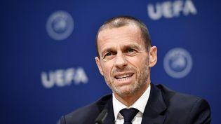 Aleksander Ceferin, président de l'UEFA lors d'une conférence de presse le 4 décembre 2019. (FABRICE COFFRINI / AFP)