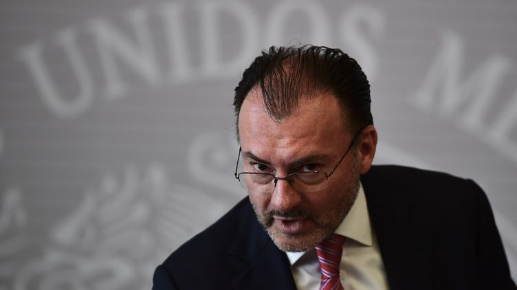 Le ministre mexicain des Affaires étrangères, Luis Videgaray, a pris la parole, le 19 juin 2018, pour condamner la politique de Donald Trump en matière d'immigration. (RONALDO SCHEMIDT / AFP)