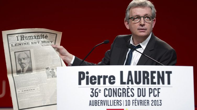 Le secrétaire national du PCF, Pierre Laurent, réélu le 10 février 2013, à Saint-Denis (Seine-Saint-Denis). (LIONEL BONAVENTURE / AFP)