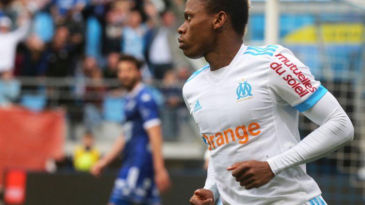 Njie sous le maillot marseillais en avril 2018. (FRANCOIS NASCIMBENI / AFP)