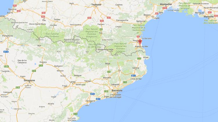 La ville de Elne se situe au sud de Perpignan dans les Pyrénées-Orientales. (GOOGLE MAPS / FRANCEINFO)