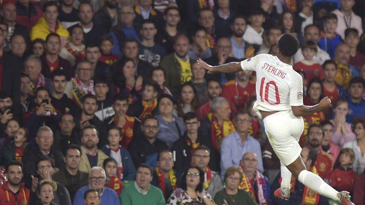 Raheem Sterling, auteur d'un doublé face à l'Espagne (JORGE GUERRERO / AFP)