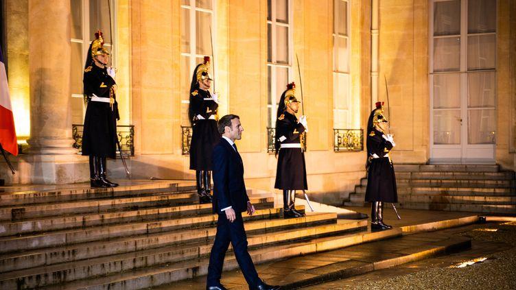 Emmanuel Macron à l'Elysée, le 29 novembre 2019. (XOSE BOUZAS / HANS LUCAS / AFP)
