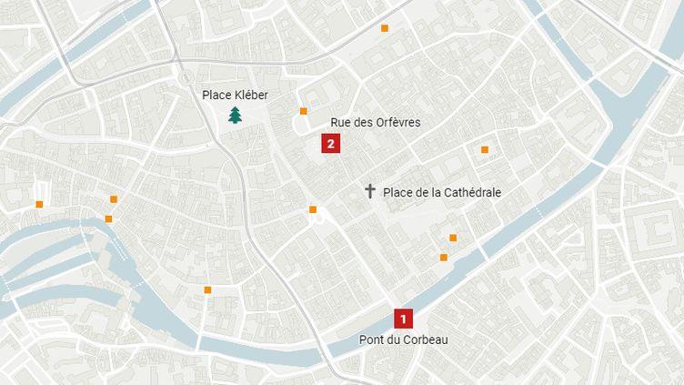 CARTE. Où a eu lieu la fusillade dans le centre-ville de Strasbourg ? (FRANCEINFO / DATAWRAPPER)