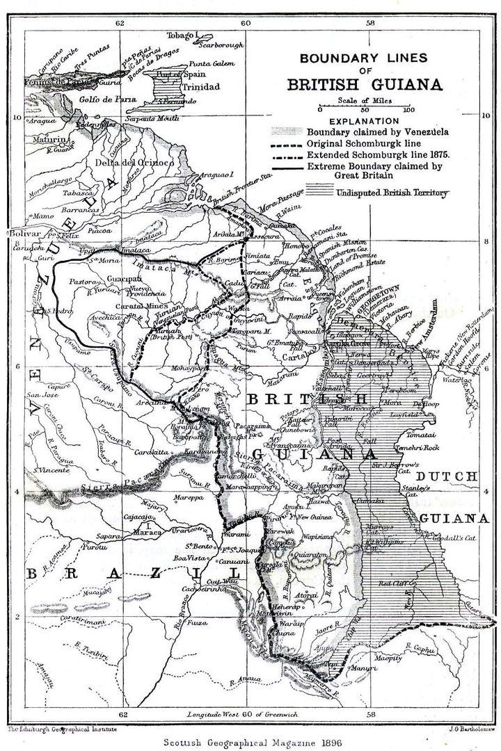 Carte anglaise de 1896 montrant l'ancienne colonie anglaise, le Guyana britannique et les diverses limites tracées les revendications anglaises maximales et la rivièreEssequiboque le Venezuela considère comme sa limite orientale. (Domaine public - http://fr.wikipedia.org/wiki/Guayana_Esequiba#/media/File:Boundary_lines_of_British_Guiana_1896.jpg)