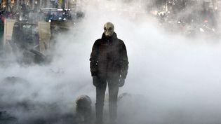 Un manifestant porte un masque à gaz le 23 janvier 2014 dans le centre-ville de Kiev (Ukraine) transformé en champ de bataille. (GENYA SAVILOV / AFP)