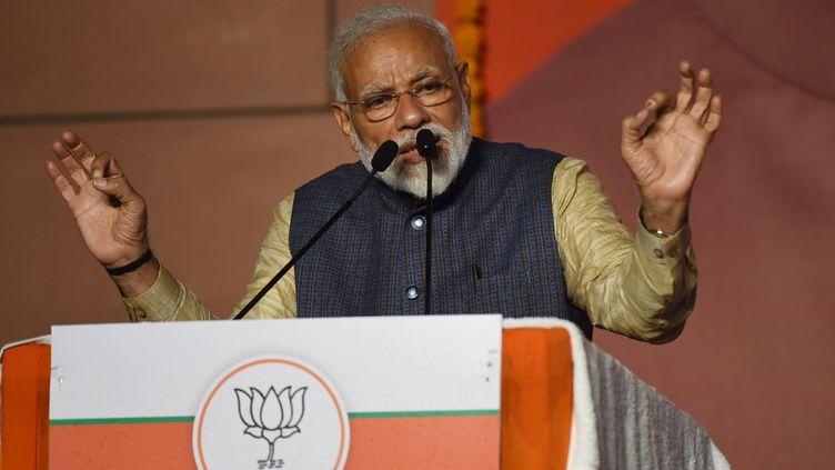 Le Premier ministre indien Narendra Modi revendique la victoire aux législatives, le 23 mai 2019 à New Delhi (Inde). (PRAKASH SINGH / AFP)