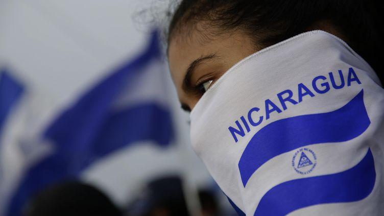 Une femme lors d'une manifestation à Managua (Nicaragua) en 2018 (illustration). (BIENVENIDO VELASCO / EFE / SIPA)