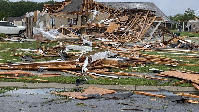 La ville de Monroe en Louisiane après le passage d'une tornade, le 13 avril 2020. (HANDOUT / THE CITY OF MONROE)