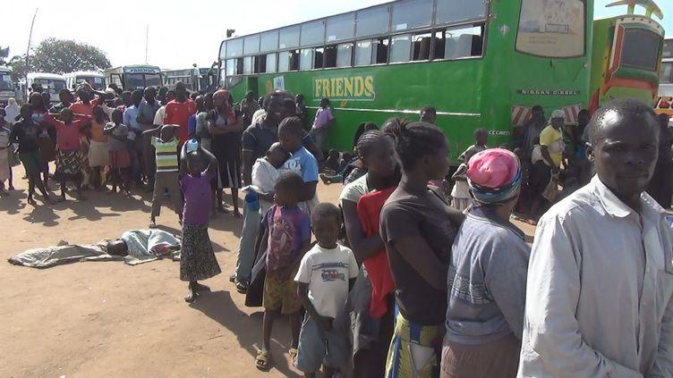 A la frontière entre le Soudan du Sud et l'Ouganda, en mars 2017. Une fois que les réfugiés ont passé la frontière à pied, ils sont emmenés en bus vers des camps. (Gilles Gallinaro / Radio France)