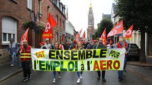 Une manifestation de salariés et de sous-traitants de l'usine Stelia Aerospaced'Albert Méaulte le 28 août 2020. (FRED HASLIN / PHOTOPQR/LE COURRIER PICARD/ MAXPPP)