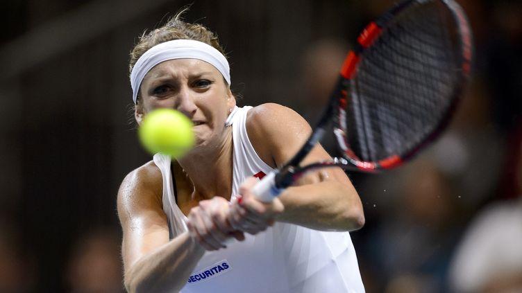 La Suissesse Timea Bacsinszky battue à Wimbledon (FABRICE COFFRINI / AFP)