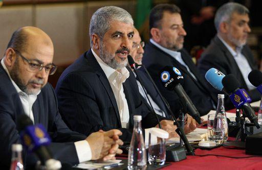Le leader du Hamas, Khaled Meshaal, présente le nouveau document politique de l'organisation islamiste palestinienne à Doha (Qatar) le 1er mai 2017. (REUTERS - Naseem Zeitoon)