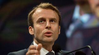 Emmanuel Macron, le ministre de l'Economie,au 69e Congrès de l'Ordre des experts-comptables, le 9 octobre2014, à Lyon (Rhône). (CITIZENSIDE / NICOLAS LIPONNE / AFP)