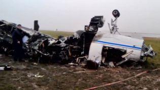 Carcasse de l'avion privé qui transportait Christophe de Margerie et trois membres d'équipage, tués dans le crash de l'appareil à Moscou (Russie), le 20 octobre 2014. (RIA NOVOSTI)