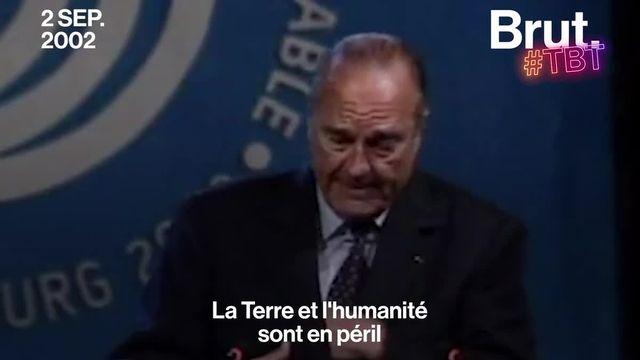 Lors de ce discours prononcé le 2 septembre 2002 au sommet de la Terre de Johannesburg en Afrique du Sud, Jacques Chirac avait secoué la communauté internationale.