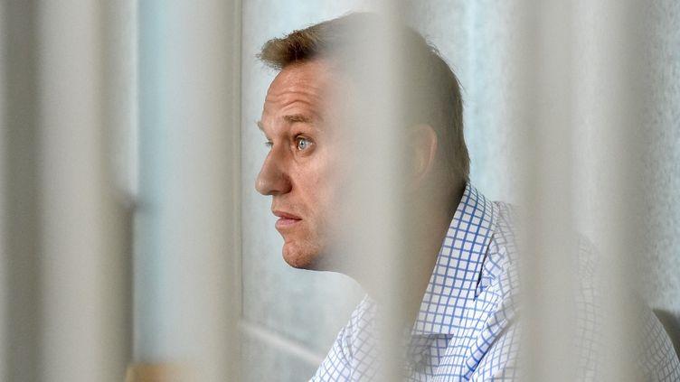 L'opposant politique russe Alexeï Navalny, le 24 jun 2019, lors d'une audition judiciaire à Moscou (Russie). (VASILY MAXIMOV / AFP)