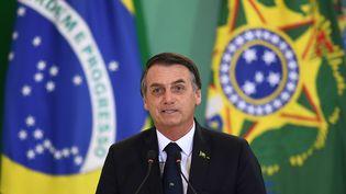 Le président brésilien, Jair Bolsonaro, le 7 janvier 2019, à Brasilia (Brésil). (EVARISTO SA / AFP)