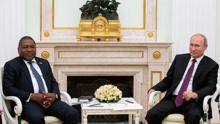 La rencontre au Kremlin le 22 août 2019 entre le président russe, Vladimir Poutine, et le président mozambicain, Filipe Nyusi (AFP - ALEXANDER ZEMLIANICHENKO / POOL)