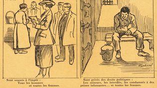 """""""Sont privés des droits politiques : les mineurs, les interdits, les condamnés à des peines infamantes... et toutes les femmes"""",rappelle ce dessin de 1923. Les Finlandaises, elles, ont acquis le droit de vote depuis déjà 17 ans. (COLLECTION YLI / SIPA)"""